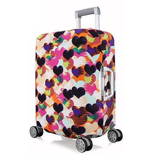 OneSky-UK Cubierta de equipaje, duradero protector lavable plegable, el tamaño del protector de la maleta se ajusta 18-28 pulgadas. (Amor corazon, S(18''-20''))