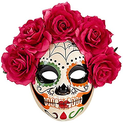 Ladies White/Red Day Of The Dead Half Face Mask W/Roses Halloween Fancy Dress Accessory
