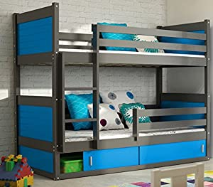 RICO 2 BUNK BED 185x80 grey colour with 2 foam mattresses + storage- Free P&P