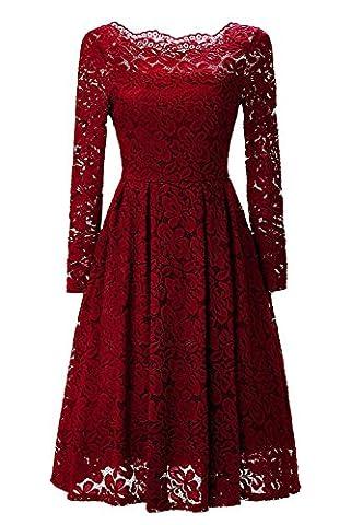 YaoDgFa Sexy Damen Kleider Spitze Abendkleid Cocktailkleid Partykleid Rockabilly Kleid Knielang Festlich Langarm Off Schulter Retro 1950er Rot XL