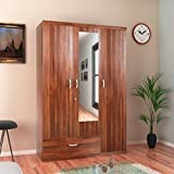 HomeTown Ultima 3-Door Wardrobe with Mirror (Regato Walnut)