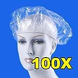 Demiawaking 100pcs monouso capelli impermeabile Shower Cap hotel cuffia da bagno elastico Clear Salon cappello immagine