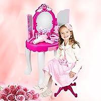 Set Coiffeuse Table de Toilette Princesse Maquillage avec Miroir Tabouret Meuble Jeu Enfant Filles