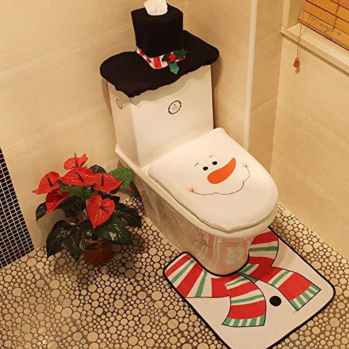 Wencaimd Badzubehör Happy Santa WC-Sitz Deckel Cover + Teppich + Tank Cover Badezimmer Set Weihnachtsdekoration - Schneemann für Badezimmer Whirlpool Paneele (Size : Style 02)