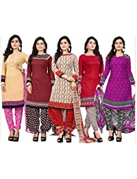 1 Stop Fashion Women's Poly Cotton Crepe Multi-Coloured Digital Printed Unstitched Dress Material (Set Of 5)