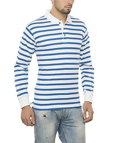 fdfebef391e020 Buy Clifton Mens Small Stripes Full Sleeve Collar Polo T-Shirt-Royal Blue  on Amazon