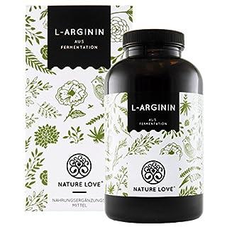 NATURE LOVE® L-Arginin - Vergleichssieger 2019* - 365 vegane Kapseln. Hochdosiert: 4500mg L-Arginin HCL (=3750mg reines L-Arginin) je Tagesdosis. Pflanzliche Fermentation. Hergestellt in Deutschland