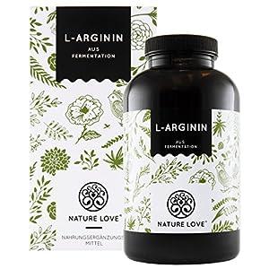 NATURE LOVE® L-Arginin – 365 vegane Kapseln – Hochdosiert: 4500mg L-Arginin HCL (=3750mg reines Arginin) je Tagesdosis. Pflanzliche Fermentation. Hergestellt in Deutschland