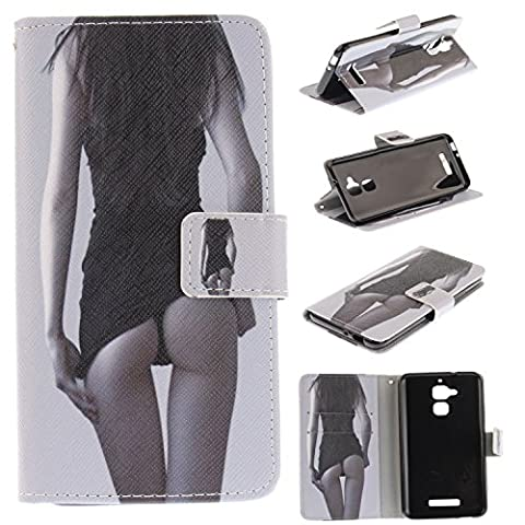 Asus Zenfone 3 Max ZC520TL Case Cover [Anti-Scratch][Waterproof], Cozy Hut Practical Fashionable Creative Retro Patterns PU Folio Leather Wallet Designer Flip Magnetic with [Wrist Strap] and [Card Holder Slot] Shock Absorber Full Body Protection Holster Case Cover Skin Shell for Asus Zenfone 3 Max ZC520TLinch - Sexy woman