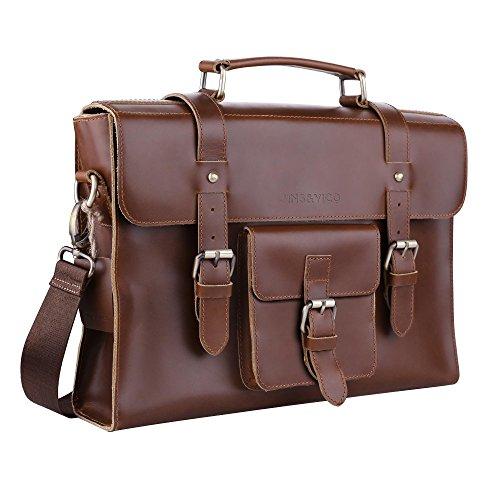 Satchel Umhängetasche, handgefertigt, Vintage, Kleine Business-Tasche für Laptop & iPad, Leder Aktentasche für Männer und Frauen braun braun 14