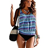 YOUYIYI Damen Bikini-Sets Elegant Farbdruck Top + Slip Tankinis Oversize Blume Push up Bademode Große Größen Badeanzug Slip Set