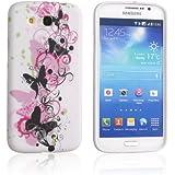 Tinxi Schutzhülle für Samsung Galaxy Mega 5.8 Zoll (14,73cm) Hülle I9152 I9150 Silikon Rückschale TPU Schutz Hülle Silicon case weiß mit pink schwarz Schmetterling