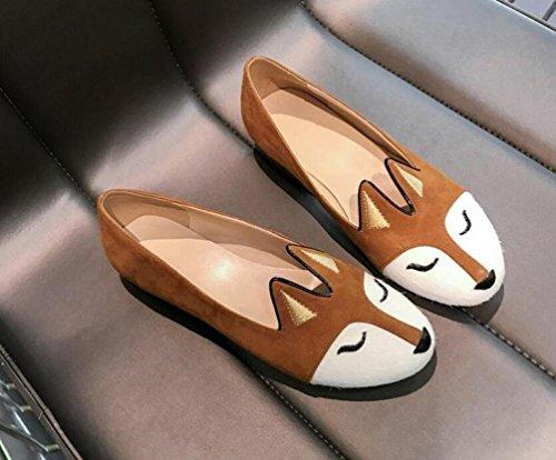 OL mocassini piatto a forma di mandorla a forma di Peep Toe Fox Pattern scarpe antisdrucciolevoli delle scarpe da donna UE taglia 34-39 Dark Brown
