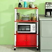 SoBuy® Carrito de cocina, estante de cocina, estante con ruedas, estantería de cocina, FRG12-R