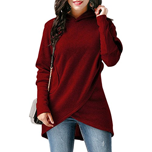 Femmes Sweats à capuche - Tops de Sport Couleur Unie Hoodies Slim Manches Longues Ourlet Asymétrique Casual Veste Chaud Pull Manteau S-5XL vin rouge