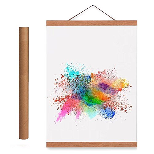 Benjia Magnetisch Posterschiene, Magnet Magnetische A2 Posterrahmen Holz Posterleiste Posterhänger für drucken Kunstwerk (42cm, Teakholz) -