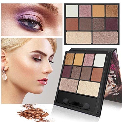 ❤️ Fard à paupières,Luxe 10 couleurs scintillement Matte ombre à paupières Eye palette cosmétiques pinceau Set maquillage cosmétique ombre by LHWY