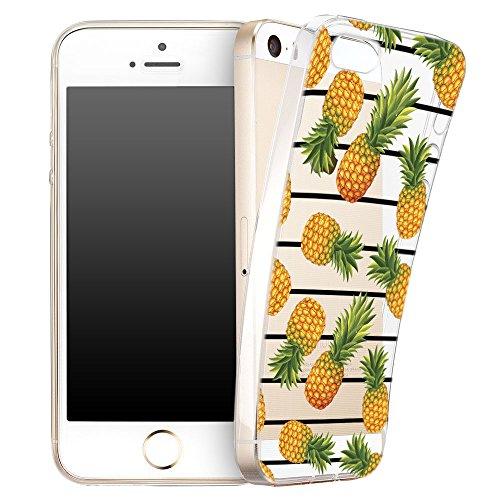 Für iPhone 8 Plus Hülle Silikon von OOH!COLOR® | Schutzhülle Motiv ROZ006 weiß elegant Schmetterling Tasche elastische Handyhülle Transparent Design Case Cover Slim Etui NFR023 Ananas