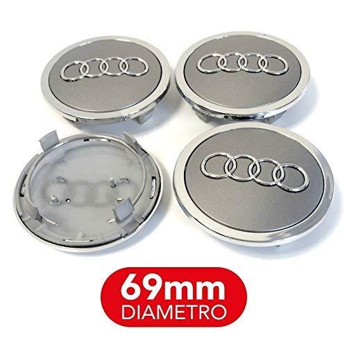 4 Tappi Coprimozzo compatibile per AUDI 69mm A3 A4 A5 A6 A7 TT Q3 Q5 Q7 Cerchi Lega Borchie A++