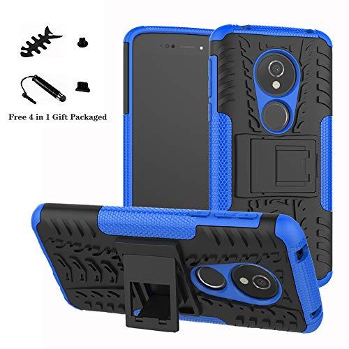 LiuShan Moto E5 / G6 Play Hülle, Dual Layer Hybrid Handyhülle Drop Resistance Handys Schutz Hülle mit Ständer für Motorola Moto E5 / G6 Play Smartphone (mit 4in1 Geschenk Verpackt),Blau