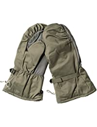 Genuine German Army Issue Surplus Goretex Cold Weather Winter Fur Lined Mitts in Olive Leather Palm/Thumb Grade 1