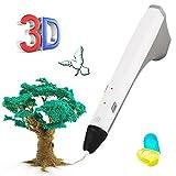 THZY 3D Pluma, Pluma impresión 3D para Modelado 3D, educación, Bono 2 Libre 1,75 mm PCL filamento, 3D dibujante Dibujo impresión Impresora Pluma para niños Adultos Artes Manualidades DIY (Blanco)