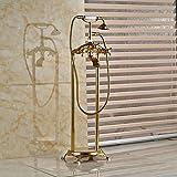 Galvanik Retro Wasserhahn Golden Finish Floor Mount Telefon Badewanne im Mixer Faucet Clawfoot Badewanne freistehend Fiiler w/Handdusche, Klar