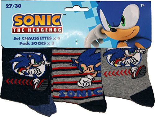 Image of Sonic the Hedgehog Childrens 3Pk Socks By BestTrend Navy-Stripe-Grey EUR 27-30 UK 9-12