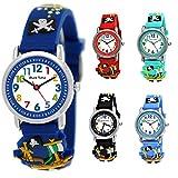Pure Time® Kinder Uhr Jungenuhr Mädchenuhr Silikon Kautschuk Schul Uhr Jungen Mädchen Armbanduhr Uhr mit 3D Piraten Sport Lern-Uhr Schul-Uhr Blau Hellblau Türkis Schwarz Rot Blau