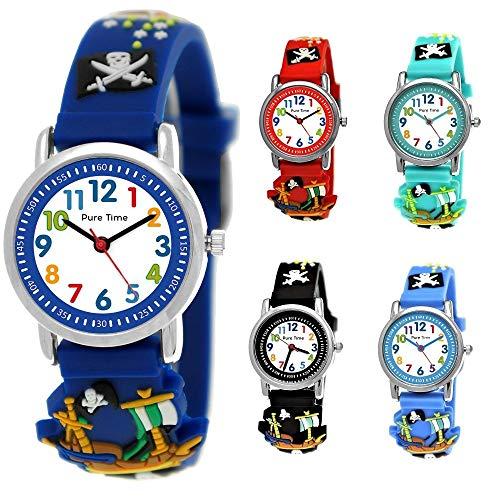 Pure Time® Kinder Uhr Jungenuhr Mädchenuhr Silikon Kautschuk Schul Uhr Jungen Mädchen Armbanduhr Uhr mit 3D Piraten Sport Lern-Uhr Schul-Uhr Blau Hellblau Türkis Schwarz Rot (Piraten - Blau)