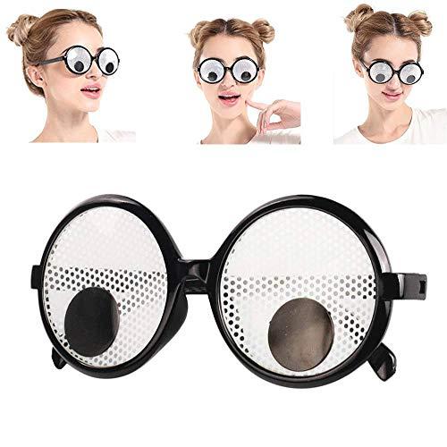 KOBWA Brille mit Googly Eyes Lustige Kulleraugen, Augenbrille, Scherzbrille, Comedy, Party, Geburtstag, Party