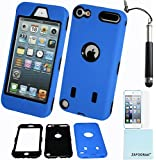 iPod Touch 5th 6th Generation Case, iPod Touch 5/6 Case Genuine ZAFOORAH Hybrid Shockproof Hard Defender 3 Layers with 3 Bonus items Stylus, Screen Protector, Microfiber Cloth (Regular Defender - 3 Layers - Dark Blue)