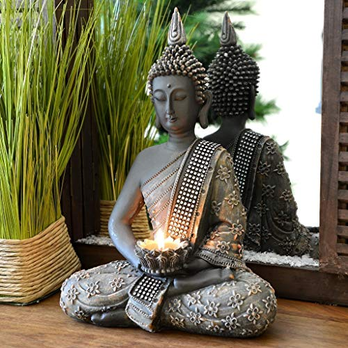 INtrenDU Buddha Decorative Chinese Figure 31 cm with candelabra Zen decoration for Interior Feng Shui