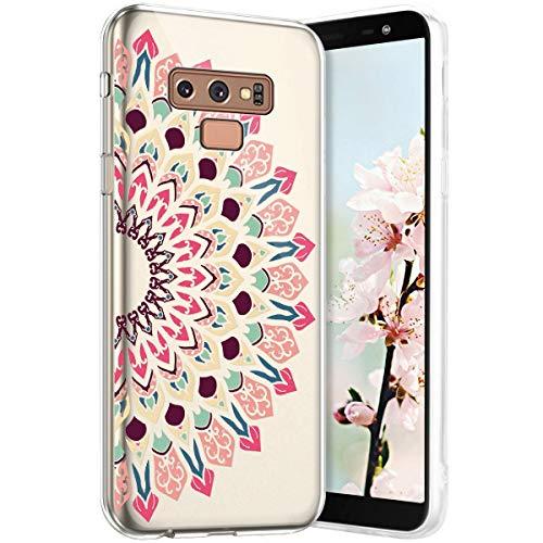 Robinsoni Funda Compatible con Samsung Galaxy Note 9 Funda Silicona Galaxy Note 9 Carcasa Transparente TPU Flor de Buda Carcasa Gel Goma Caso Ligera Suave Case Flexible Ultra Suave Caso Claridad Funda