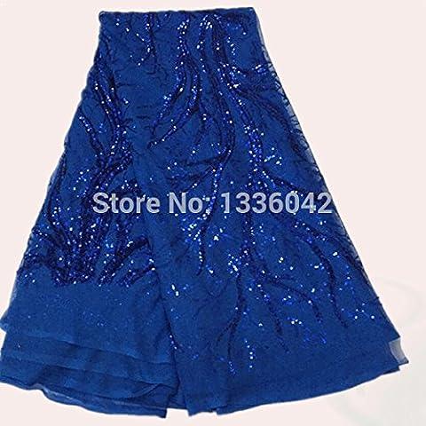 Nuevo tejido hermoso azul bordado de encaje francés neta con lentejuelas tronco del árbol FN7-5 bonita tela africana del cordón de organza para el vestido