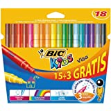 Bic Kids Visa Feutre de coloriage Couleurs assorties 15+3 Gratuits