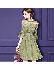 Señoras de moda hilados de encaje color frito empalmar una palabra falda vestido de manga de cuerno,XL