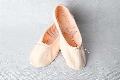 Hoverwings Demi-pointes en toile - bi-semelle en cuir - danse classique - rose-abricot, blanc, noir et rouge-Unisexe (35, rose-abricot)