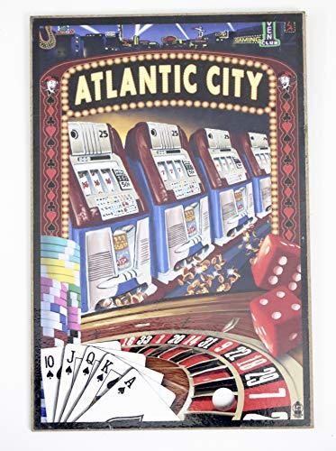 New York Atlantic City Souvenir, Holzkunst Tafel, Wandschild Collage von Gamboling Machine.