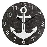 Vipsa Runde Wanduhr, arabische Ziffern, Acryl, rund, geräuschlos, Nicht tickend, 24,1 cm, Anker, Schwarz