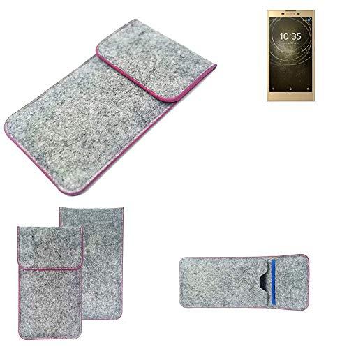 K-S-Trade® Filz Schutz Hülle Für -Sony Xperia L2 Dual-SIM- Schutzhülle Filztasche Pouch Tasche Case Sleeve Handyhülle Filzhülle Hellgrau Pinker Rand