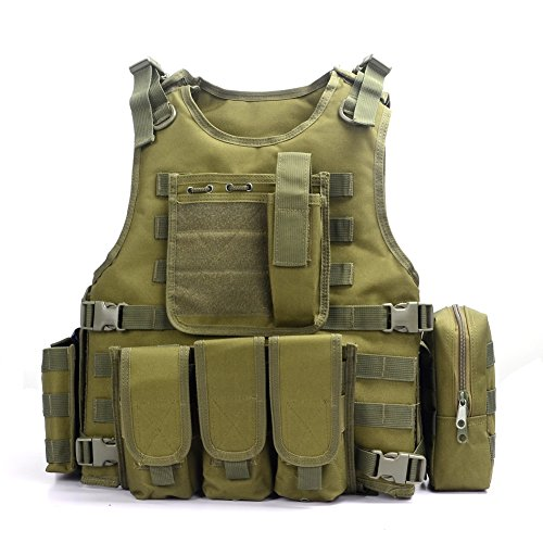 YAKEDA® Ventilatori Army Tactical Vest Cs campo Swat Tactical Vest dell'esercito all'aperto Vest Cs gioco Vest Cosplay di Counter Strike gioco Vest-322 (verde)