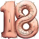 Zenball Rosé XXL Folienluftballon (100cm) - Zahl 18 - Riesige Heliumluftballons in Rose-Gold als Dekoration zum 18. Geburtstag