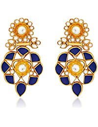 Ahilya Jewels Statement .925 Sterling Silver Gold Plated Drop Earrings