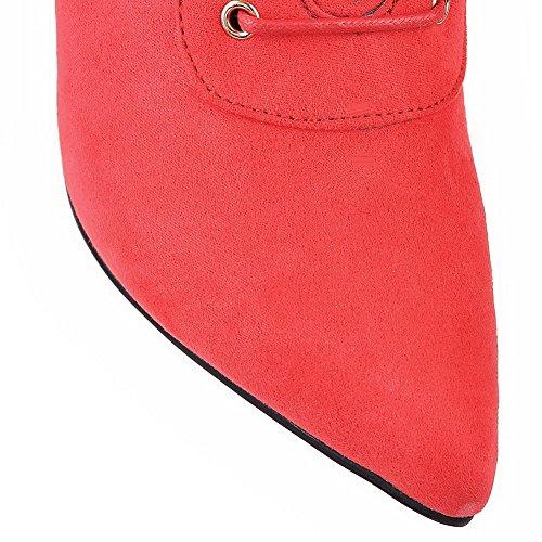 VogueZone009 Donna Allacciare Tacco Alto Pelle Di Mucca Puro Bassa Altezza Stivali Rosso