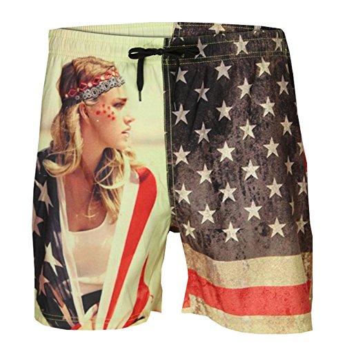 Soulstar Amary Short de bain pour homme nouveau modèle de drapeau américain Imprimé Beach Board Short - Drapeau américain