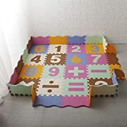 سجادة لعب أحجية من ويسفور، 16 قطعة من بلاط الأرضيات المتشابك من مادة ايفا، سجادة زحف ملونة للأطفال مع سياج وأر