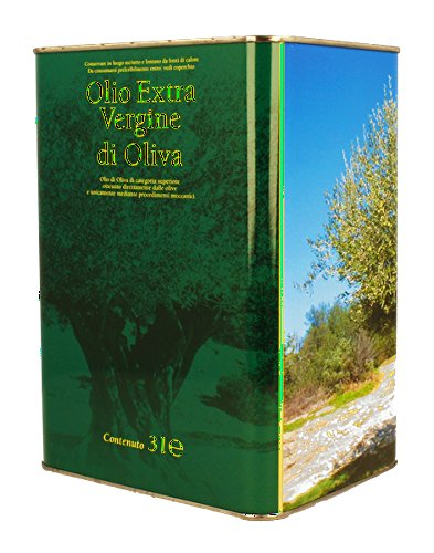 Olio extravergine di oliva 100% italiano lattina 3 litri raccolta 2017 carolea estrazione a freddo