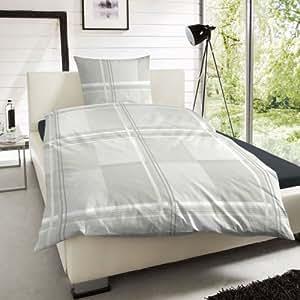 2 tlg. Edelflanell Baumwolle Bettwäsche Einzelbettgröße Karo Kariert Silber Frostgrau Weiss - 155x220 cm, 80x80 cm