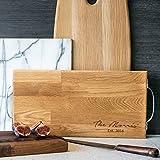 Großes, Personalisierbares, Rustikales Schneidebrett aus Holz/Käsebrett, 40 x 20 cm, Eiche oder Nussholz/Personalised Large Rustic Wooden Chopping Board/Cheese Board - Oak Or Walnut